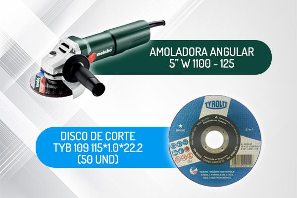 "AMOLADORA ANGULAR 5"" 1100W W 1100-125 + DISC CORTE 4,5"" (50 unds)"